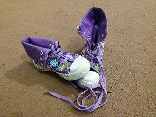 girls purple converse style boots trainers size 9 uk