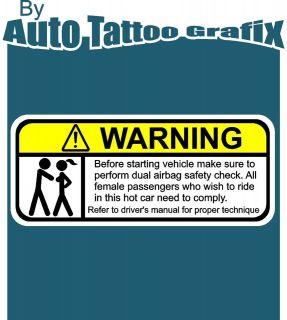 WARNING Decal Sticker Car Truck Bike Vehicle Safety Check Drift JDM