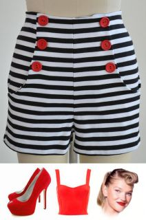 Style Black & White STRIPE HIGH WAISTED Pinup Shorts with RED BUTTONS