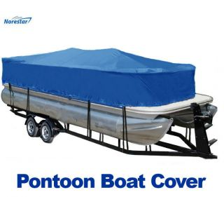 New 17 20 Pontoon Boat Cover (Blue), Heavy Duty, Trailerable, w