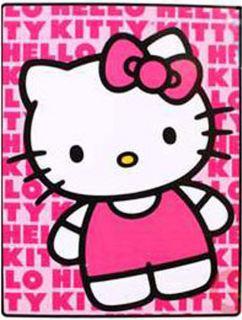 Sanrio Hello Kitty Pink Royal Plush Raschel Twin Size Throw Blanket