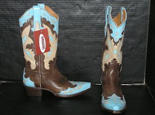 NEW LUCCHESE RESISTOL RANCH Cowboy Boots, Inlaid Wingtip Womens 6.5B