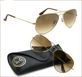 RAY BAN AVIATOR SUNGLASSES RB3025 001/51 Gold/Gradient Brown Lens 58mm