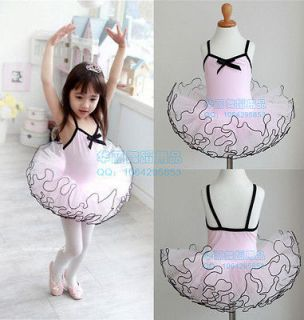 New Pink Girls Party Leotard Ballet Costume Tutu Skirt Dance Skate