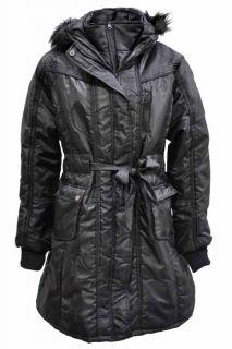 LADIES WOMENS PLUS SIZE BLACK FUR HOODED BELTED SHINY MAC WINTER COAT