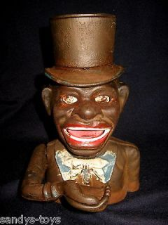IRON BLACK AMERICANA JOLLY N MECHANICAL BANK BOY PURCHASED AS USED