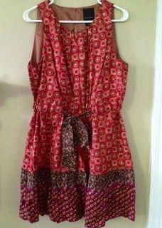 Anthropologie Silk Fiery Tiers Dress Anna Sui Silk Geometric 12 XL