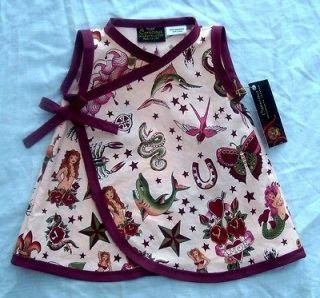 New Rockabilly Tattoo Punk Pink Mermaid wrap toddler baby girl dress
