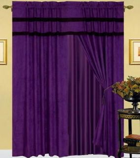Newly listed New Purple Black Micro Suede Curtain Valance Panels Liner