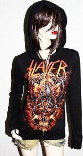Slayer Metal Punk rock DIY Slim Fit Hoodie Jacket Top Shirt