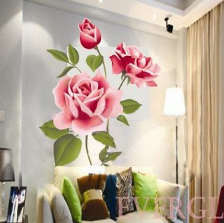 3D Love Rose Flower Removable PVC Wall Sticker Home decor Room Decal