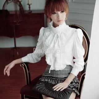 BOHO Women Luxury Flouncing Long Sleeve Stand Collar Tops Ruffle T