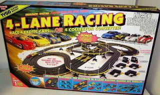 Hot Wheels 440X2 4 Lane HO Scale Slot Car Track Set W/ 4 Cars 36693
