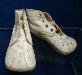 Vintage White Leather Infant or Baby Shoes Booties Perforated Toe Area
