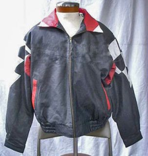burks bay black white red leather racing jacket nwt