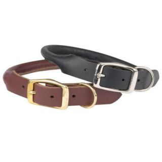 casual canine rolled leather dog collar round pet collars black