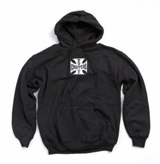 WEST COAST CHOPPERS MALTESE CROSS MENS HOODIE, ALL SIZES, BLACK
