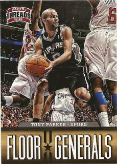 PARKER 2012 13 Panini Threads Basketball Floor Generals Card #11 Spurs