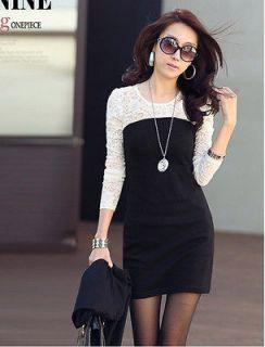 New Sexy Korea Women Black White Lace Long Sleeve Casual Cotton Dress