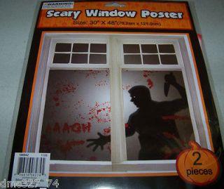 HALLOWEEN Prop Decor SCARY Window COVER Poster MURDERER Killer ~ 2