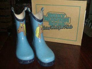 RAIN RUBBER BOOTS PONY / HORSE SMOKY MOUNTAIN KIDS/CHILDREN SIZE 3