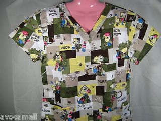 Newly listed NEW Scrubs Top Dog Bow Wow Cat Meow MEDIUM Medical