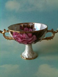 VTG Royal Sealy China Japan Pedestial Handled Dish Iridescent w/Gold