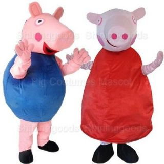 Adult Size George And Peppa Pig Mascot Costume Cartoon Clothing Party