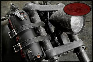 La Rosa Design Motorcycle Black Leather Bottle Holster & Liter Fuel