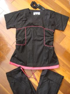 Adelie BodyFit New Stylish Nursing Scrubs Set Black Hot Pink XS Sm M
