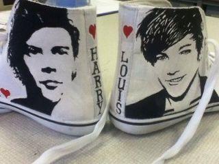 Hand Painted Hi Top Shoes, One Direction, Justin Bieber , JLS , Gaga
