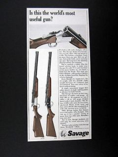Savage Model 24 Over Under Rifle Shotgun 2 in 1 Gun 1965 print Ad