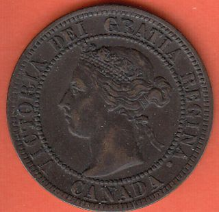 1899 Canadian Copper Large Cent Coin Canada One Cent Very Fine Lot #M8
