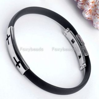 Christian Cross Mens Simple Design Black Rubber Bracelet Wristband 1Pc