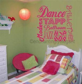 Dance Ballet Sports Vinyl Decal Wall Sticker Words Lettering Teen Girl