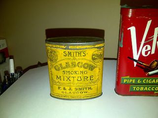Scarce Antique Smiths Glasgow Upright Oval Pocket Tobacco Tin Can