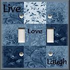 Switch Plate Cover   Inspirational Sayings   Live Love Laugh   Blue