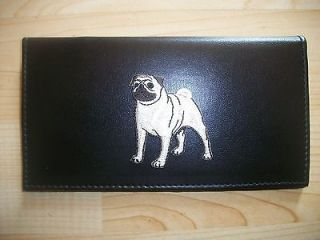 newly listed pug dog black leather checkbook cover
