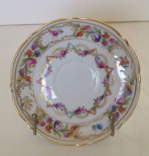 Schumann Arzberg Germany Gold Pink Blue Flowers 5 3/4 Salad Plate