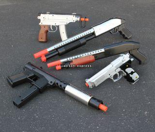 Airsoft Gun Combo Set Spring Shotgun Uzi Beretta Pistol w/ 1,000 BBs