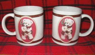 Ruth & Bill Morehead Christmas Teddy Bear Mugs Set of 2 Houston