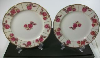 Vintage Royal Sealy China Lustreware Pink Rose Bread & Butter Plates