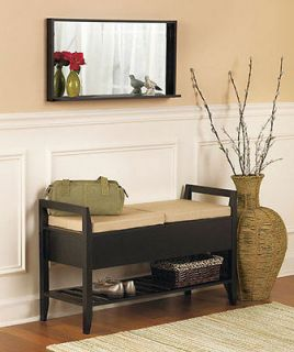 Decorative Bench Seat Cushions in Black Entryway Storage