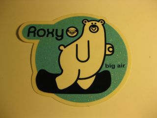 new roxy big air bear sticker decal surf snowboard time