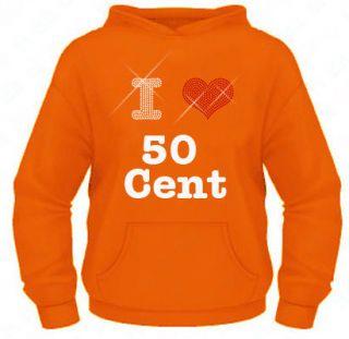 Ladies Diamante / Rhinestone I Love 50 Cent hoodie XS XXL Gift Bling