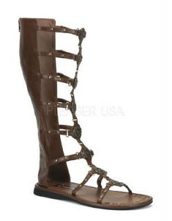 mens roman gladiator warrior brown knee high sandal shoes