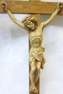 Antique Old Religious Crucifix Wood Cross Jesus Christ Corpus Figure