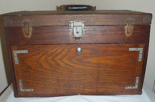 EXCELSIOR TOOL BOX VINTAGE ANTIQUE VINTAGE WOOD MACHINIST CHEST