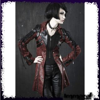PUNK RAVE STEAM PUNK ARMY JACKET   PUNK/GOTHIC/RE​D/TRENCH/COAT
