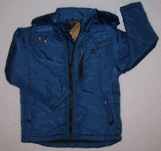 TImberland coat boys x small hooded Blue full zip Gray fleece lined